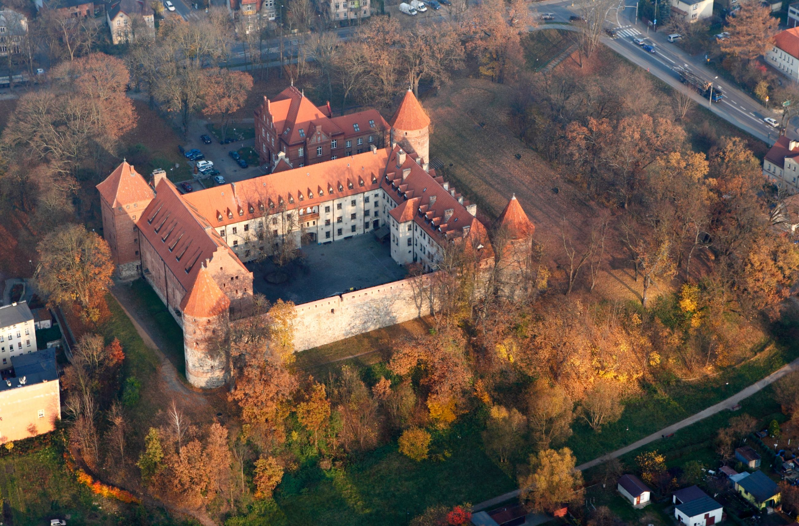 Zamek Bytów z lotu ptaka